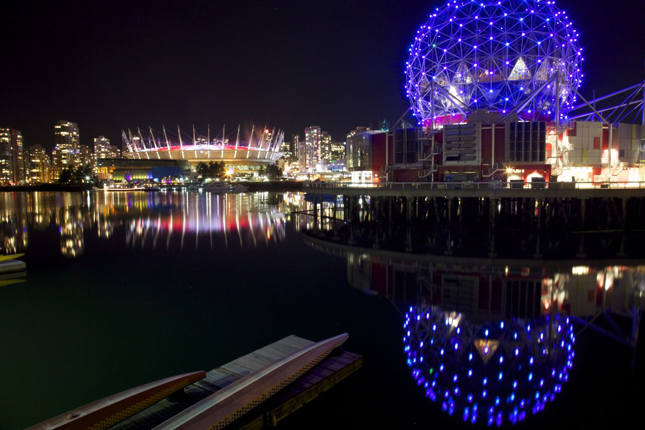 Science World and BC Place reflected in False Creek.