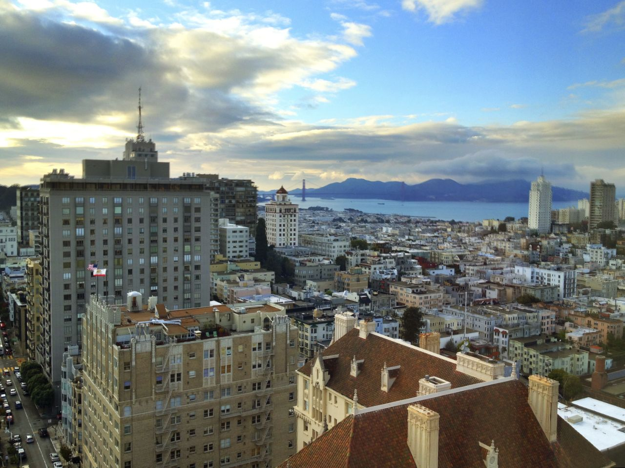 View from the top of the Fairmont Hotel in San Fran.