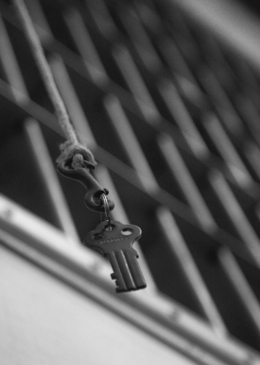 The key, hanging from the rope in the main hallway in Alcatraz.