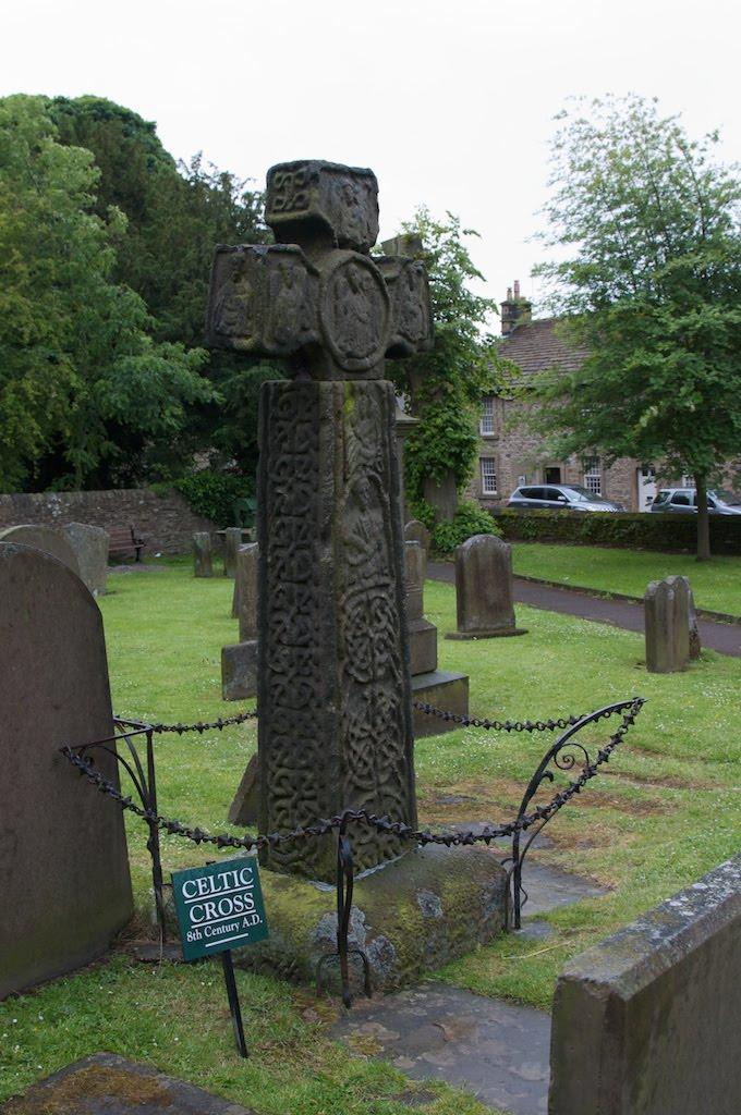 Saxon cross in the graveyeard at Eyam