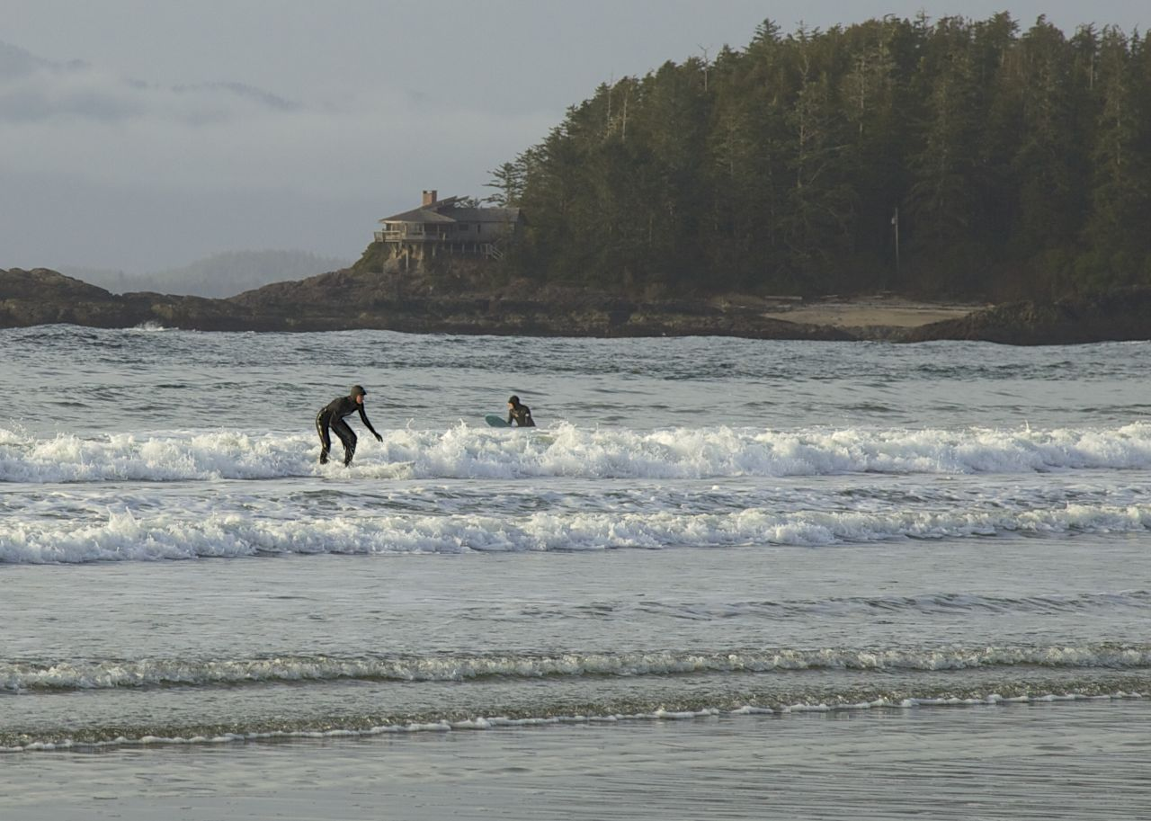 Alex is just about up, while Fergus waits for another wave.