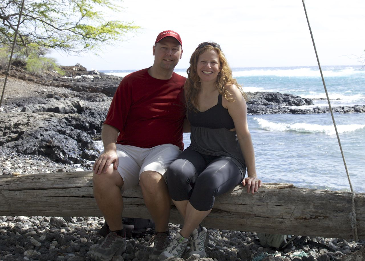Justine and I at the end of our hike, enjoying the secluded beach - and it's log swing!