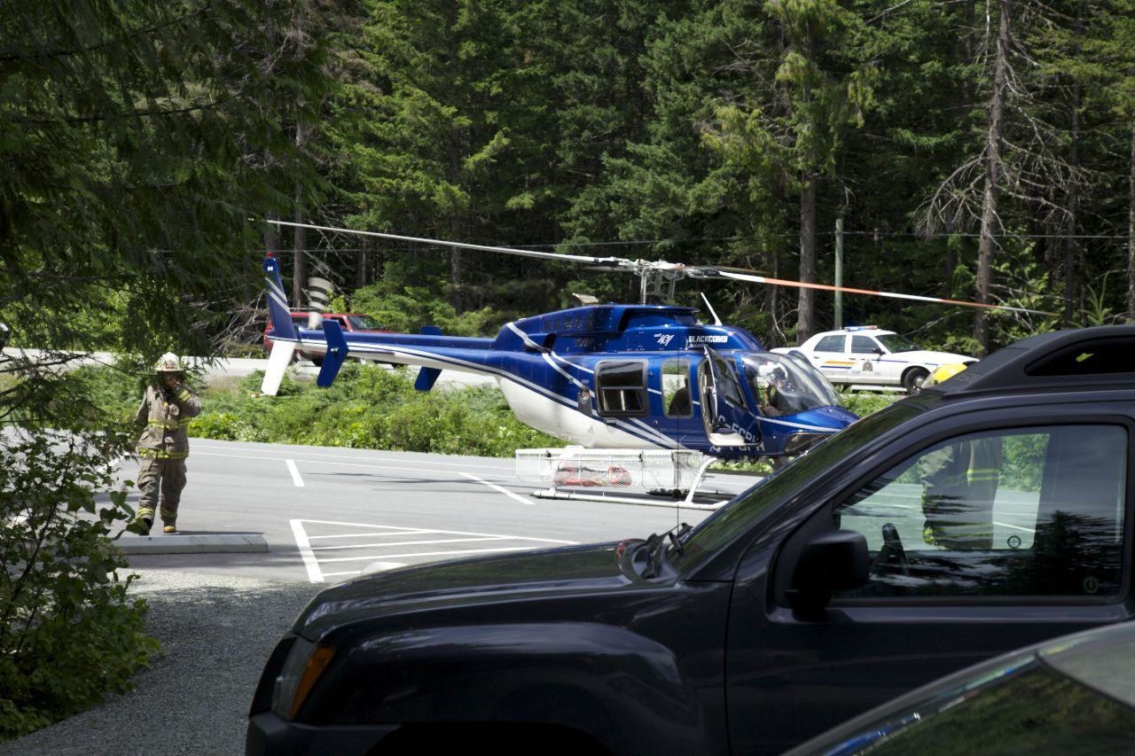 There was plenty of room for them to land the helicopter, just past where we were parked. I was glad the truck didn't end up being in the way.