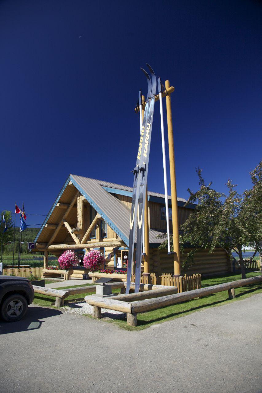 The visitor center at 100 Mile House, along with the world's biggest cross country skis.