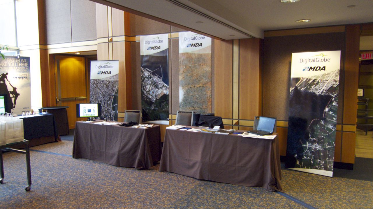 """Our """"booth"""" that we shared with DigitalGlobe at the UN Conference."""