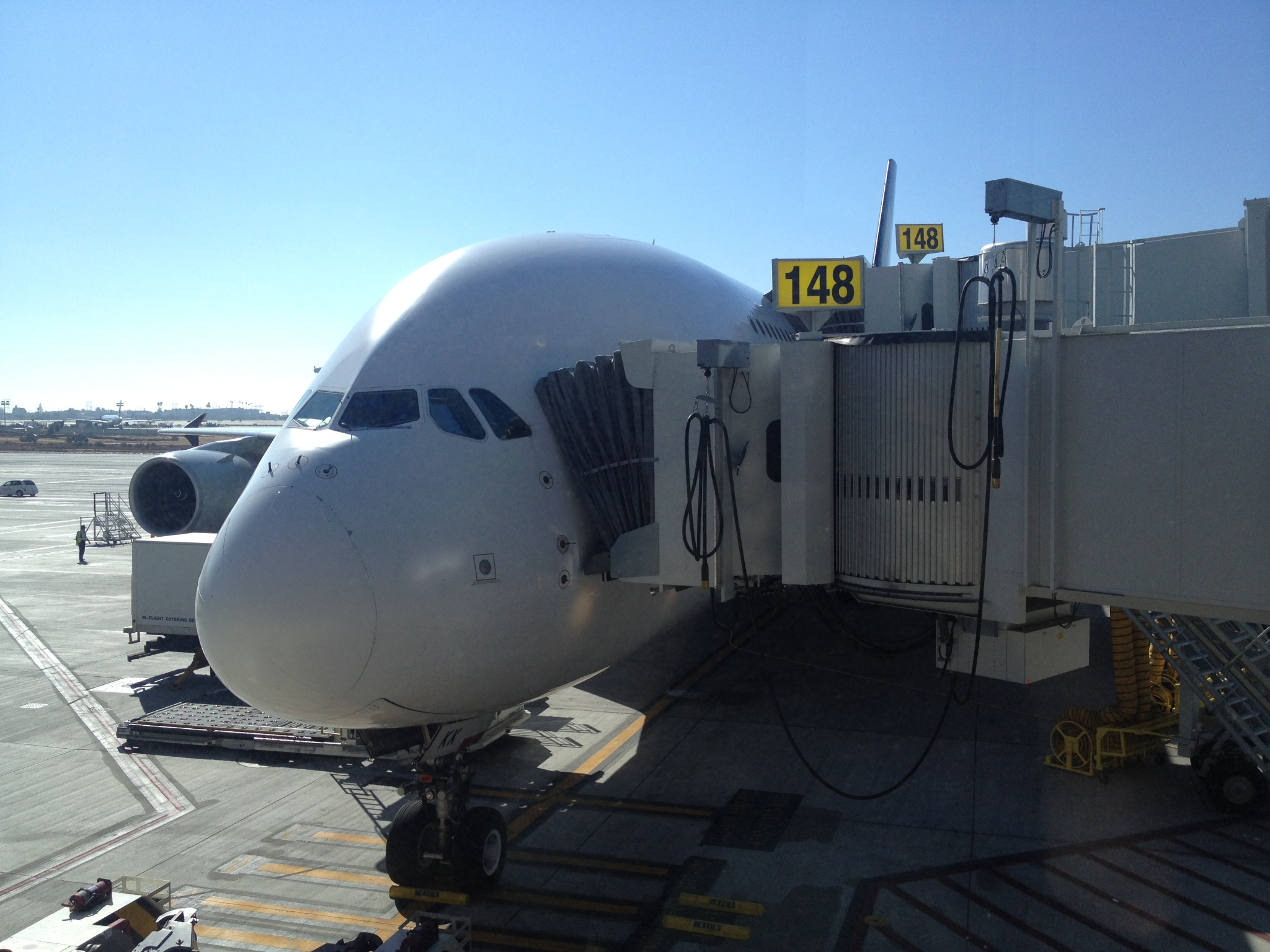 The first real leg of my trip was from LA to Tokyo, and was on a Airbus A380. I had booked a good seat on the upper deck of the massive plane. Here is the plane from the gate, in LA.