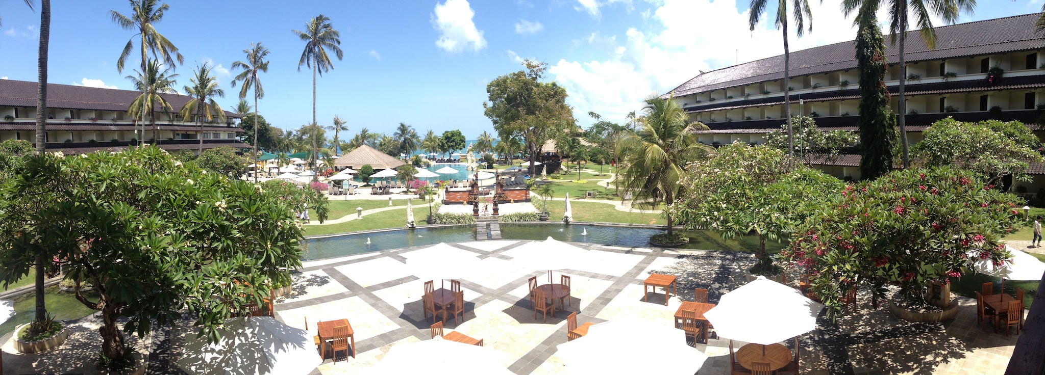 A panoramic view of the hotel I was staying at in Kuta, Bali. The Discovery Plaza was a nice enough hotel. This is a panoramic view of the grounds.