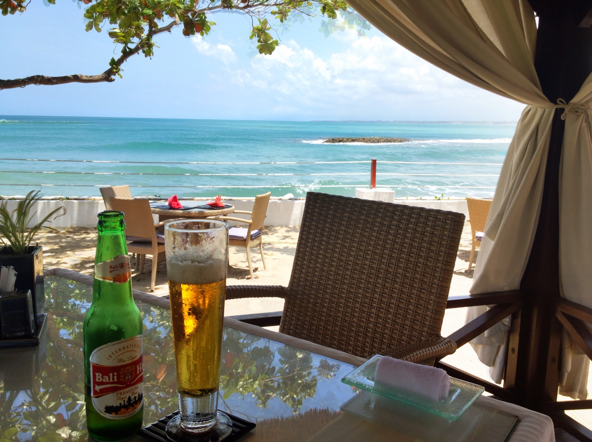 Lunch was pretty good - sushi and noodles on the sand overlooking the ocean. The beer was typical hot weather beer - nothing special.