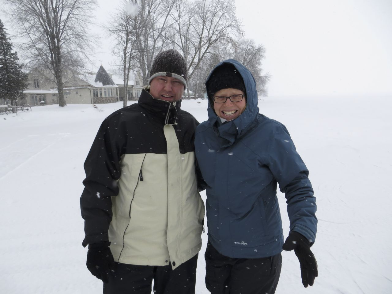 Justine and I out on Lake Simcoe in the snow.