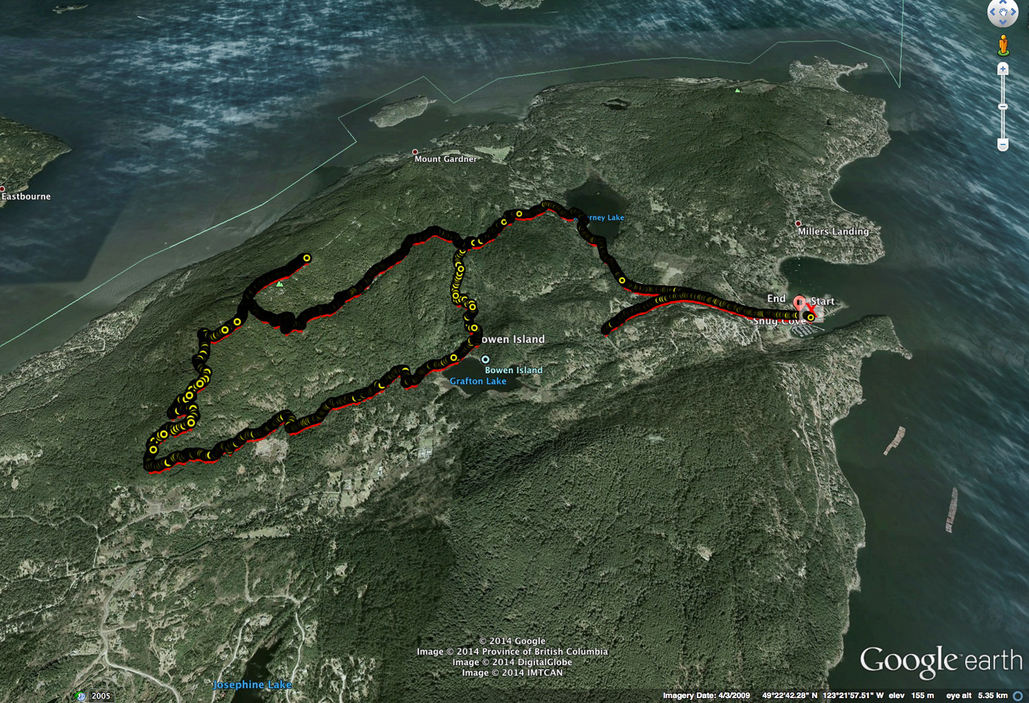The GPS trail of our hike. You'll notice the miss at the beginning, and the very long way around to the summit.