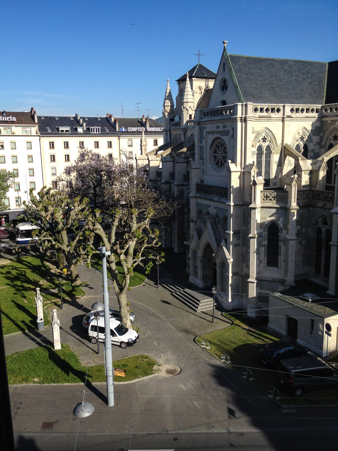 The view out of the window of my hotel room was surprisingly nice. I had a good view of the Notre-Dame Cathedral, across the street.