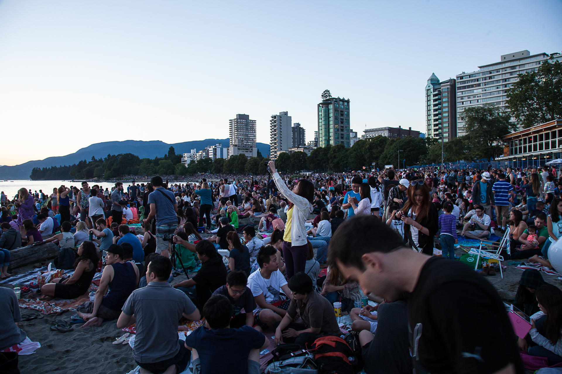 There was a big crowd at the beach for fireworks.