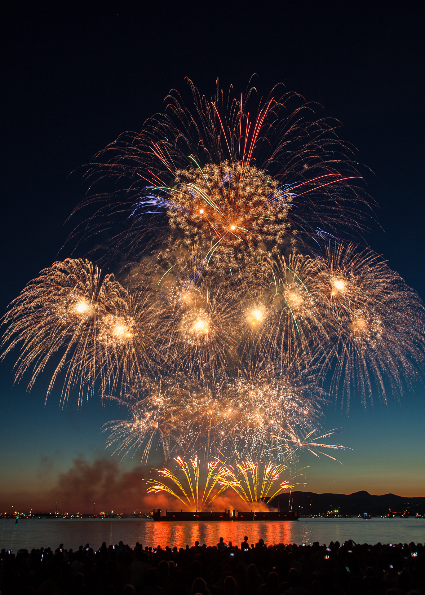 A huge collection of fireworks at all levels.