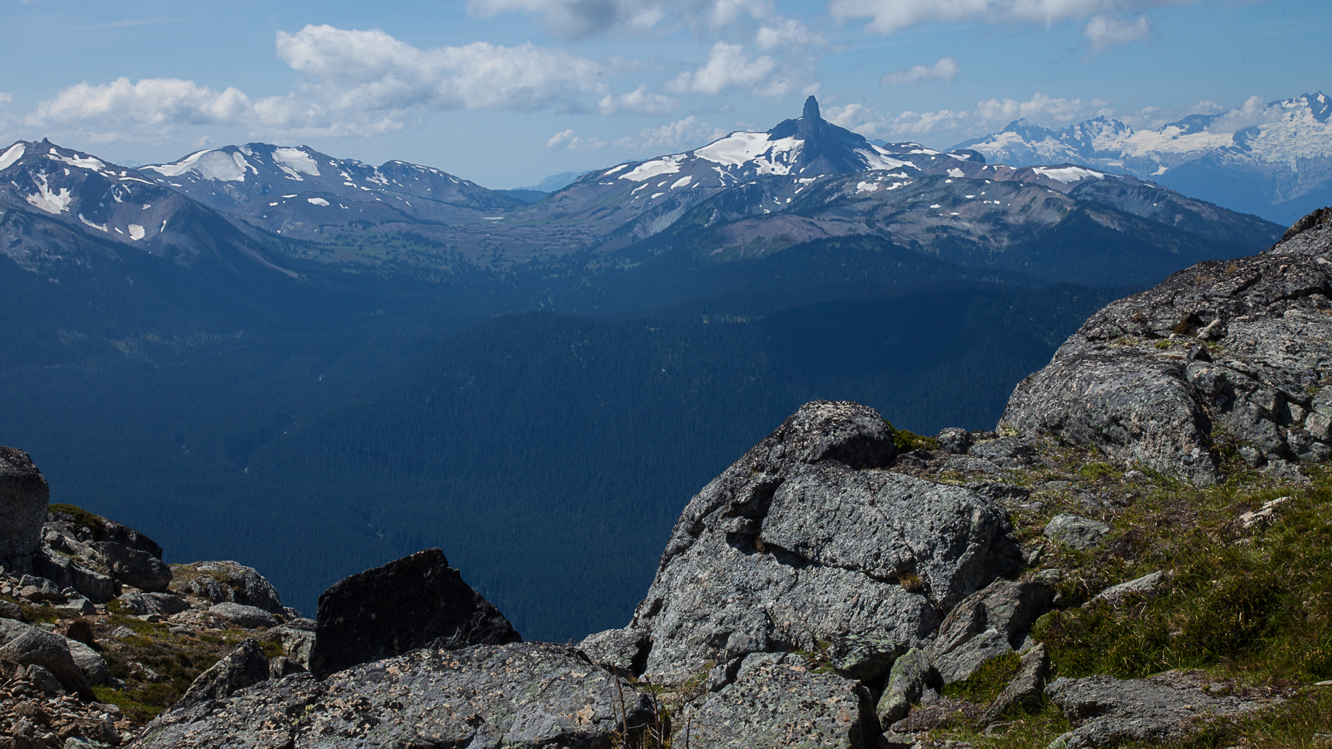 Black Tusk, off in the distance from the top of Whistler Mountain.