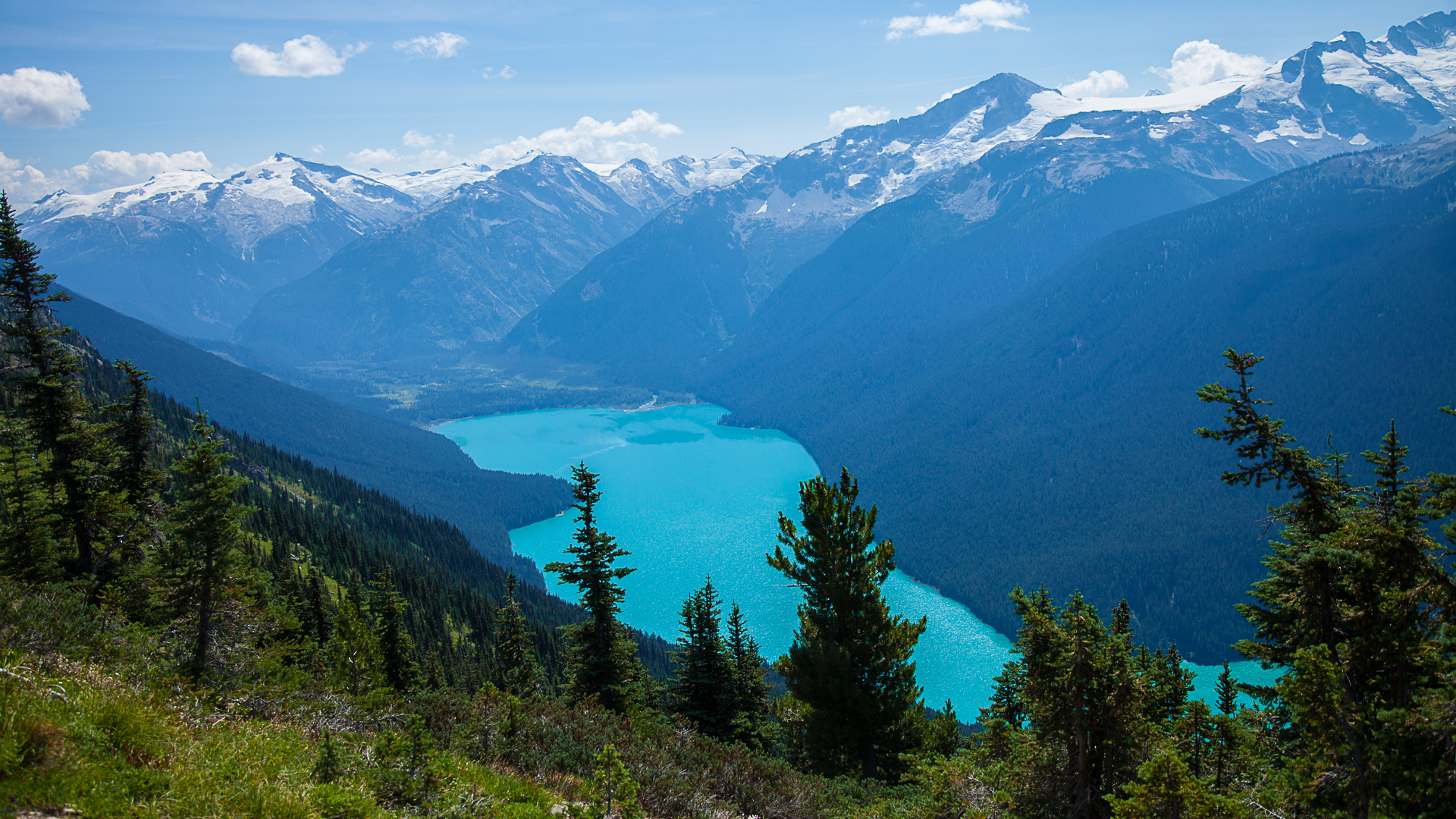 Cheakamus Lake, in all its turquoise glory off the back side of Whistler Mountain.