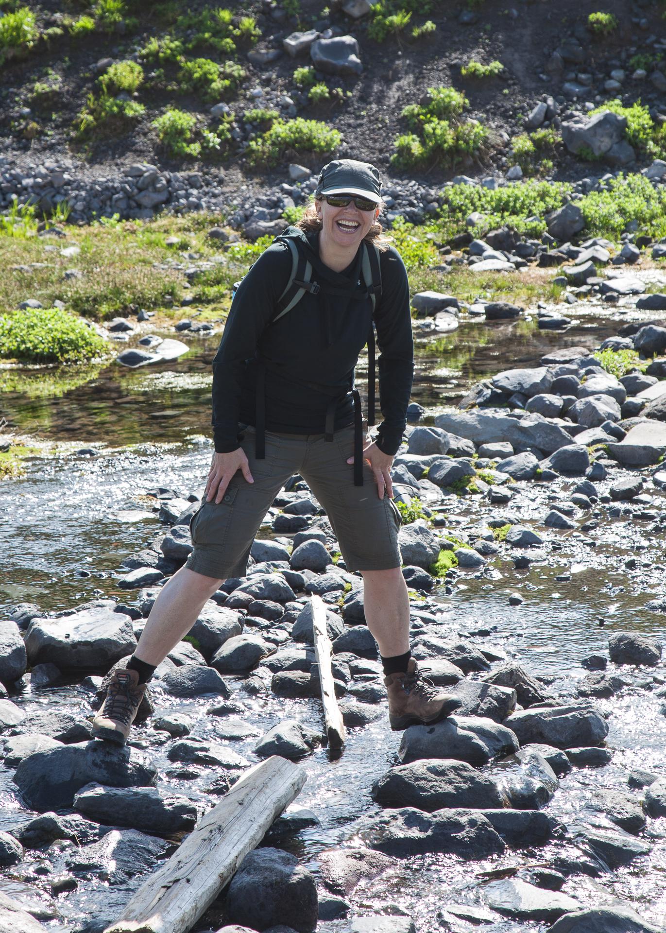 Justine, braving a river crossing.