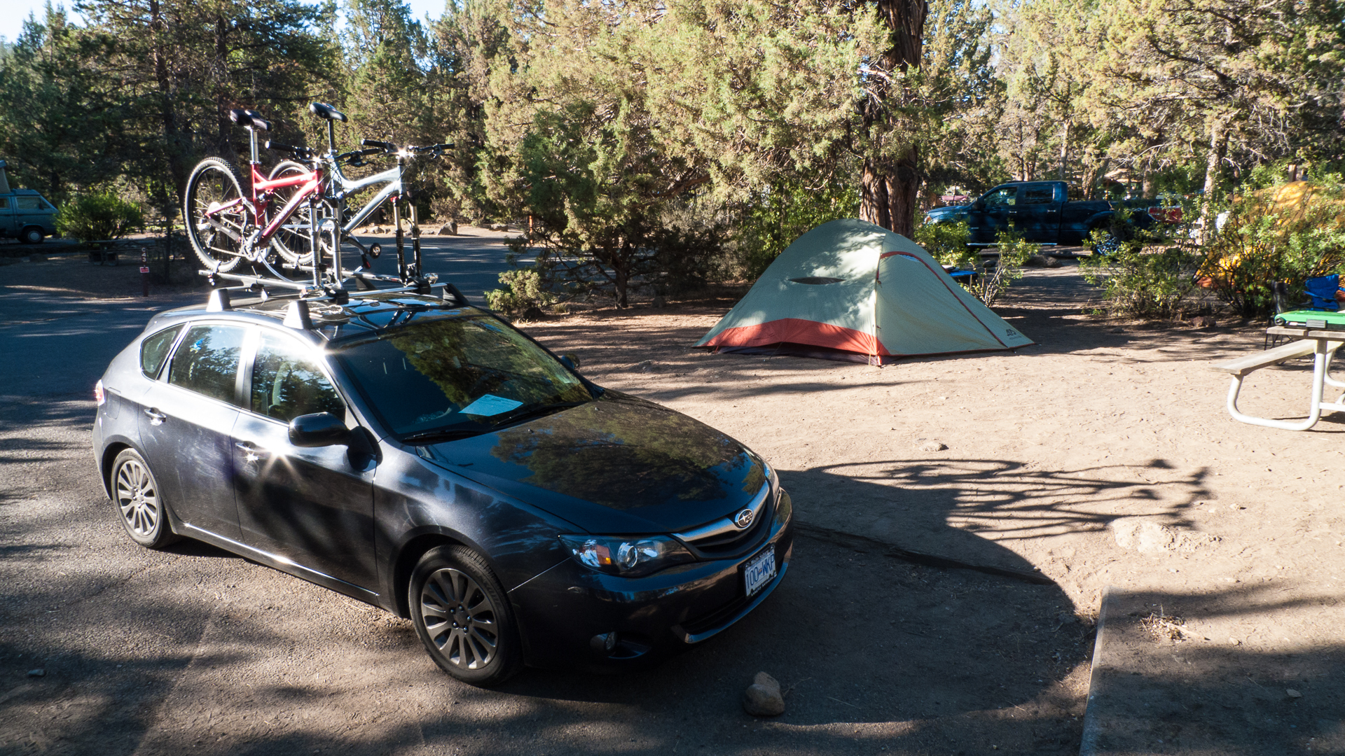 Camp all set up at Tumalo State Park. Welcome to the desert.