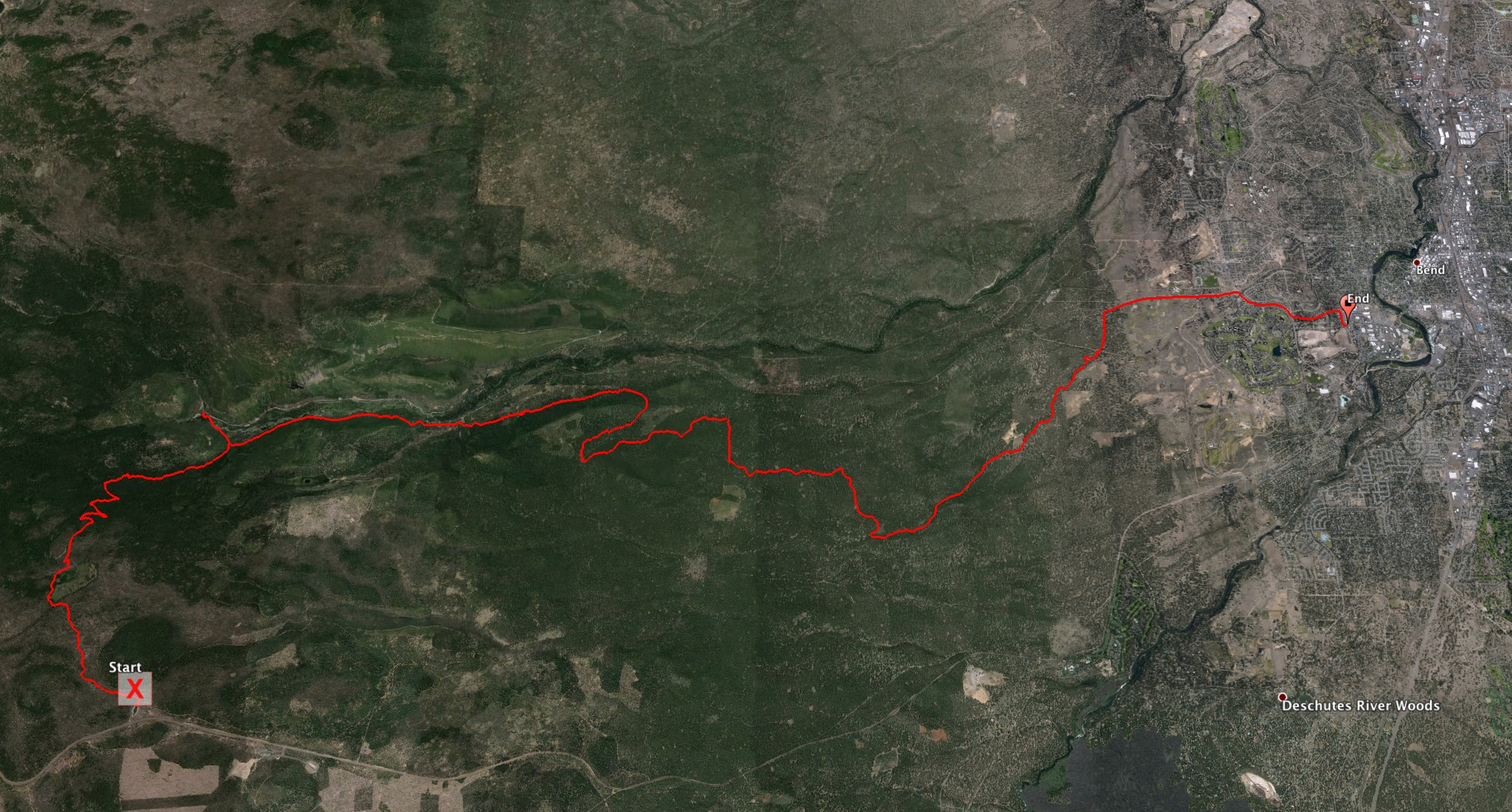 Here's the whole ride, as recorded on GPS. It was a great ride!