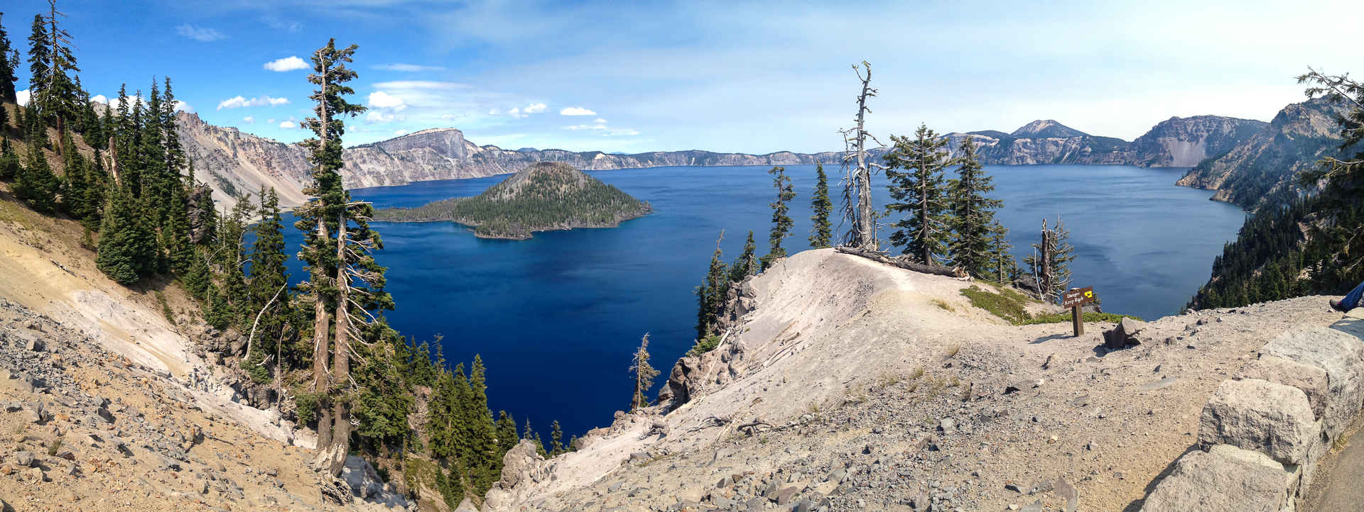 Crater Lake, with Wizard Island, its own mini volcano rising from the lake.