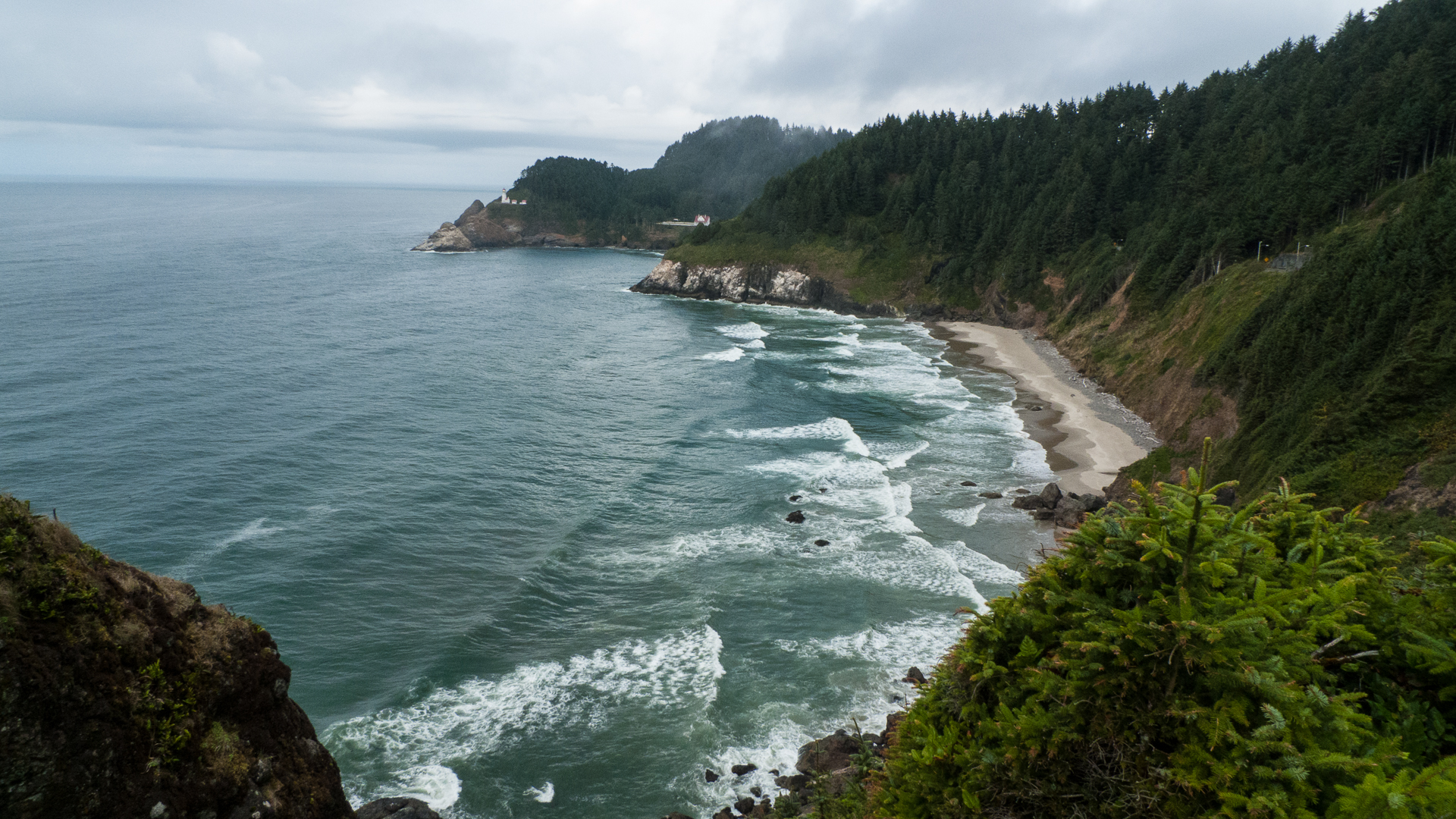 A typical view of the Oregon Coast, complete with lighthouse.