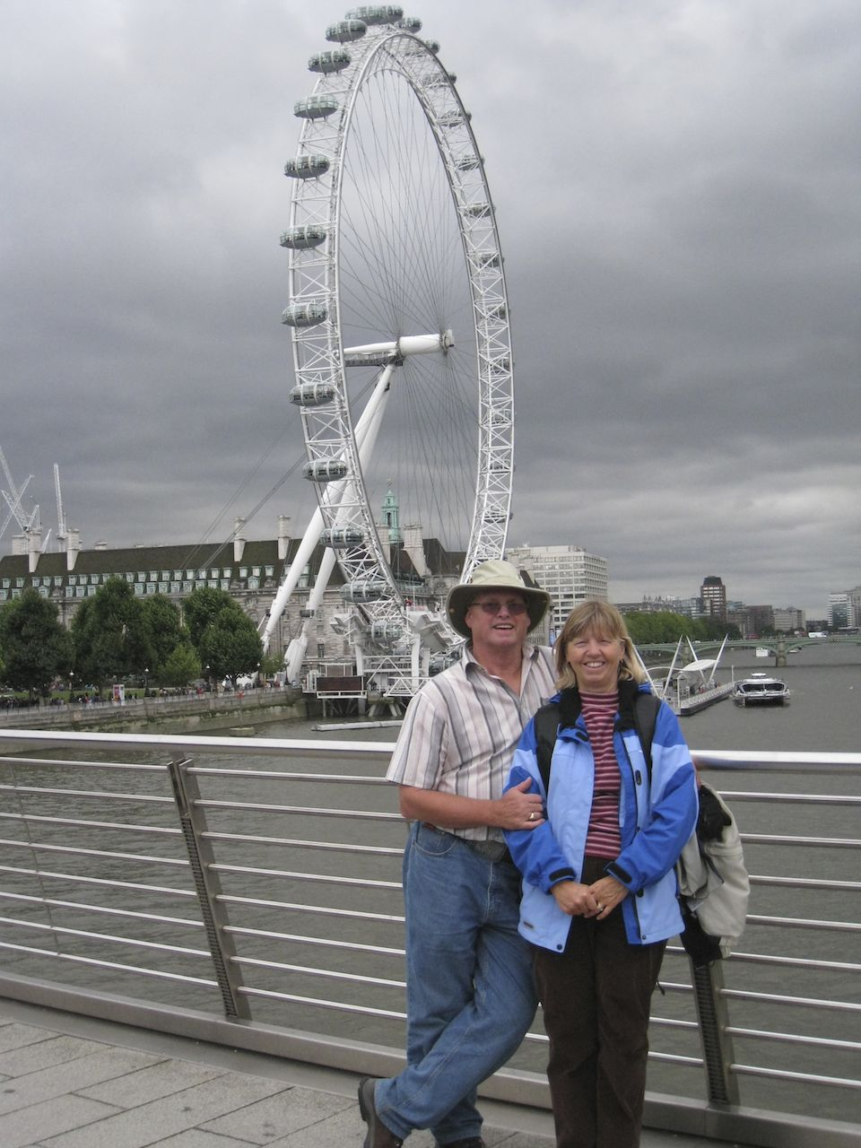 Mom and Dad in front of the London Eye