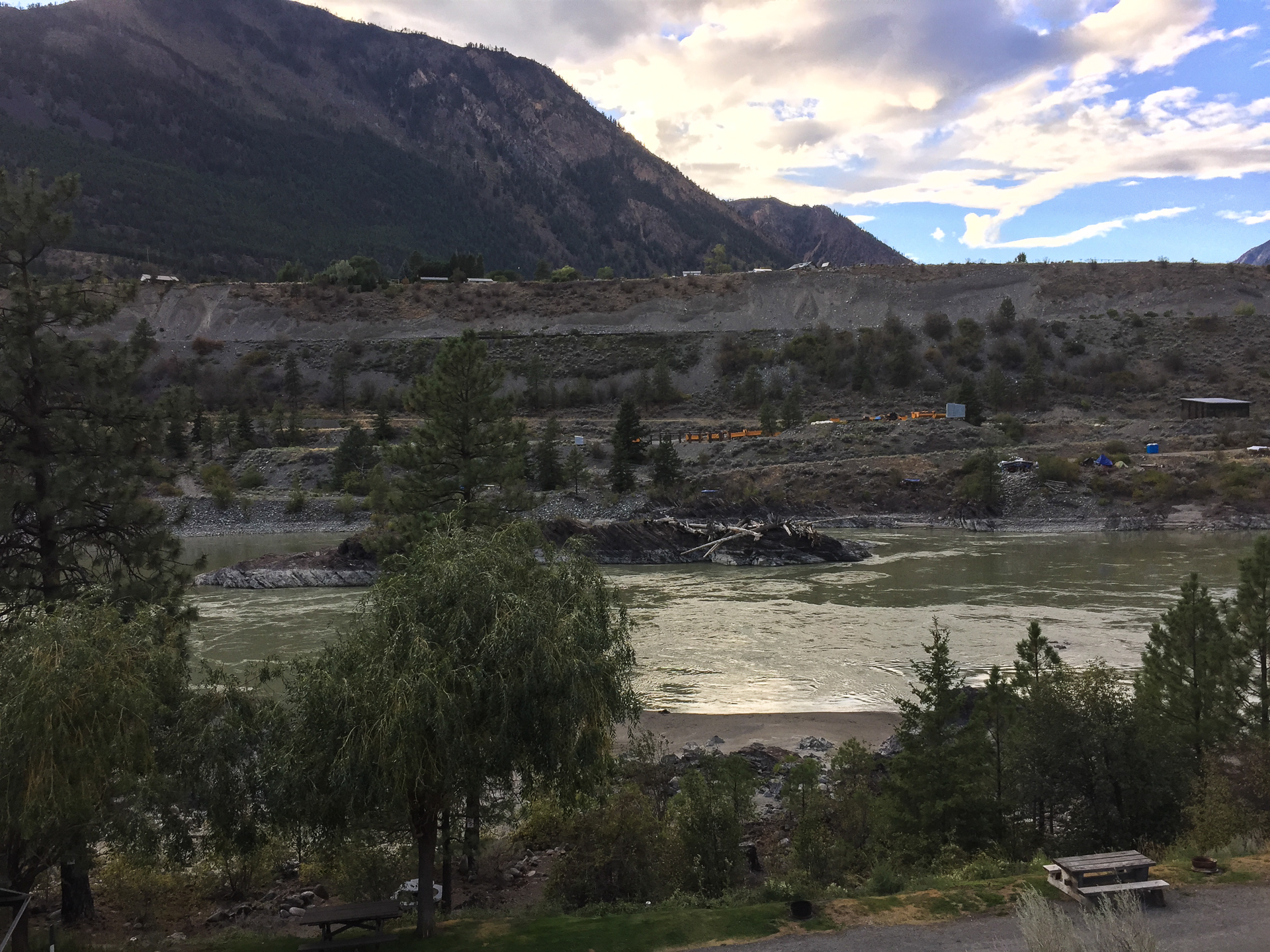 The view of the Fraser River from our campsite in Lillooet.