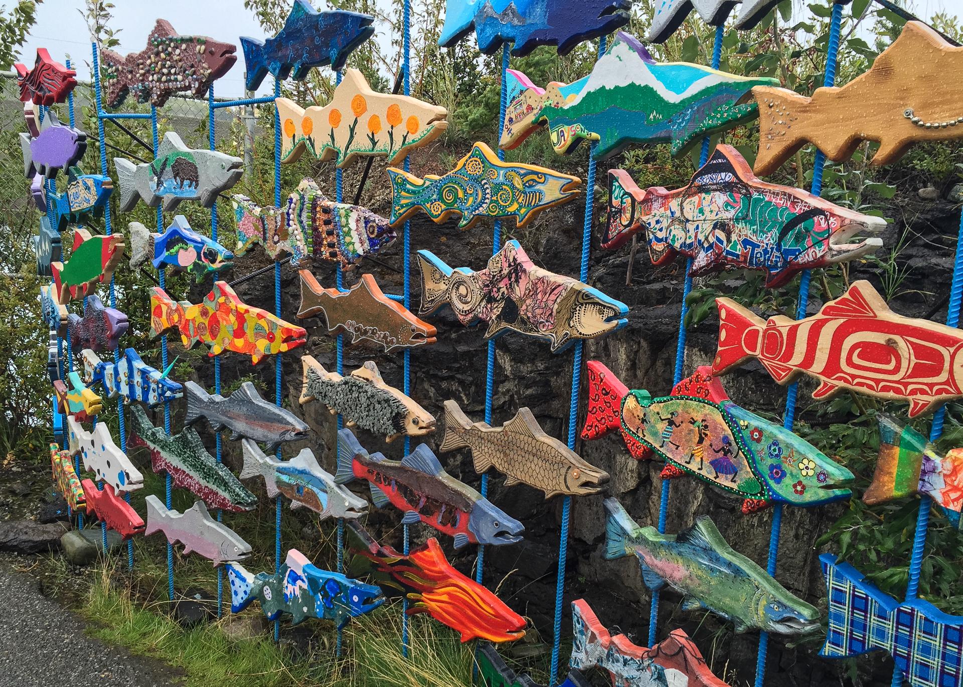 Art display at the fish ladder.