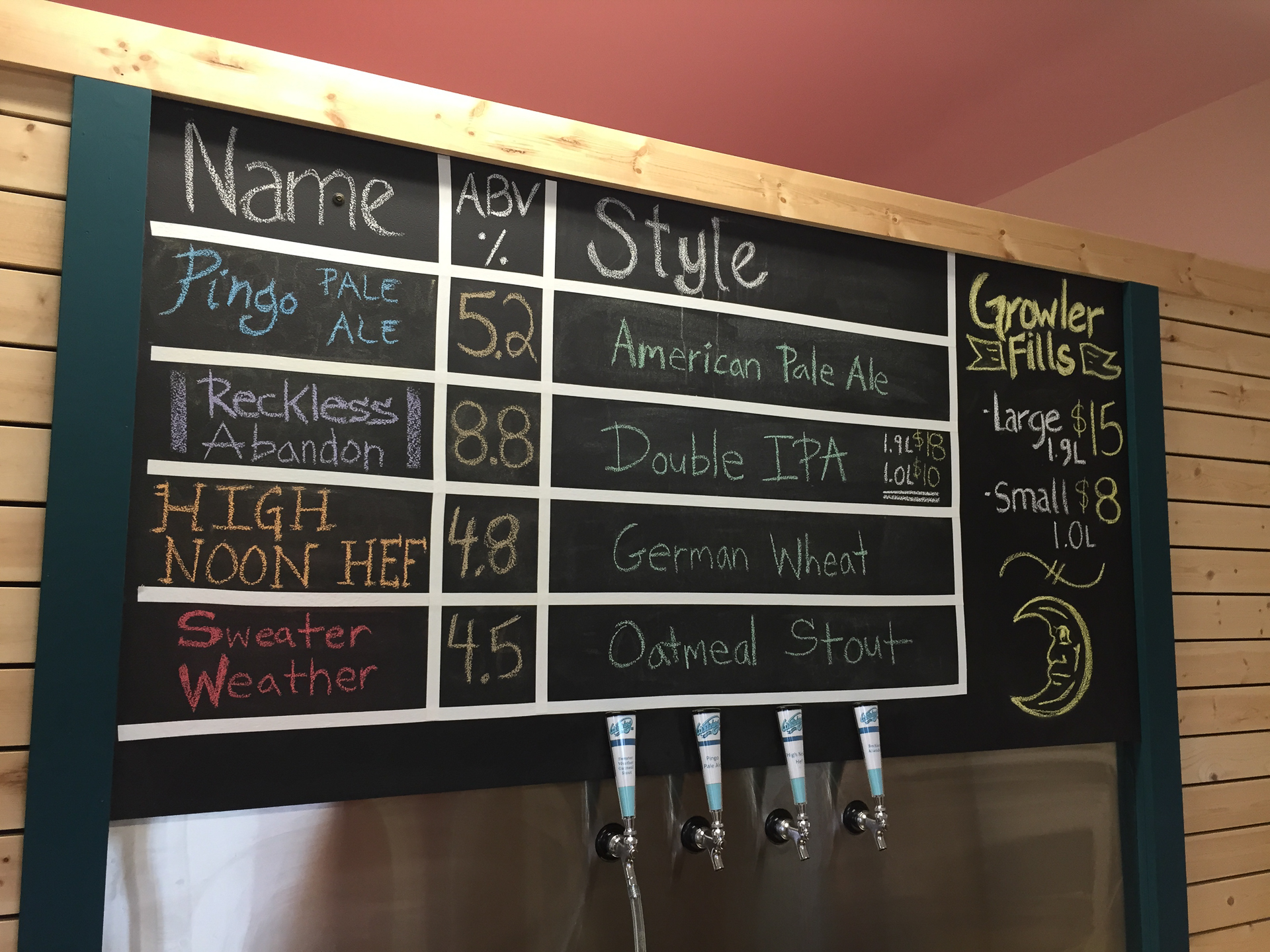 The beer list from Winterlong.