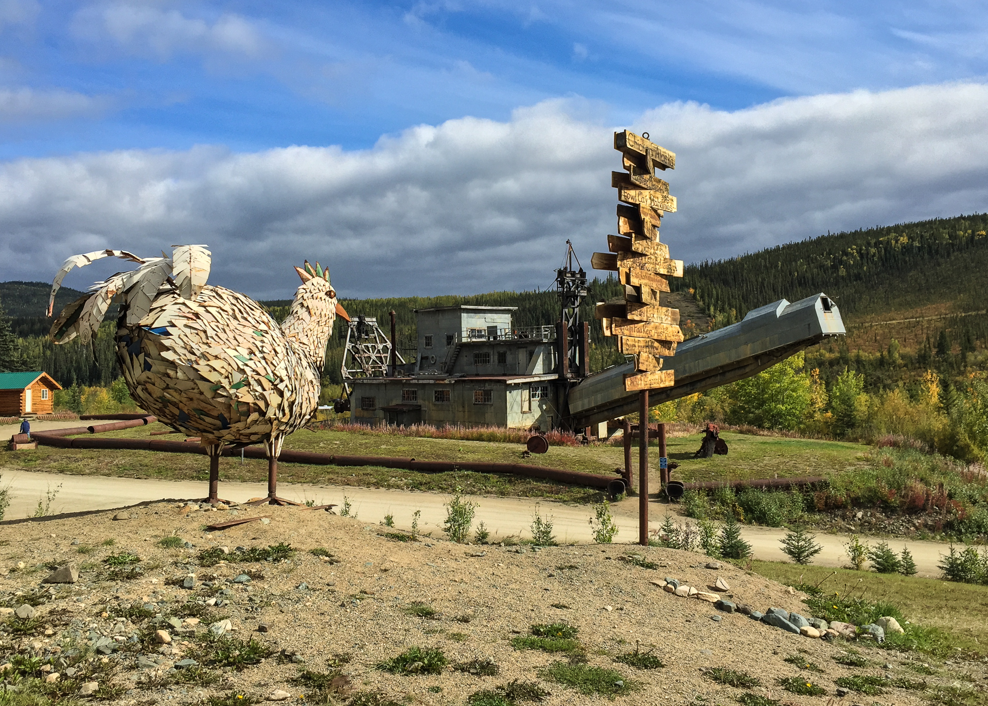 The chicken sculpture, and the old dredger, as the sun came out for a short while.