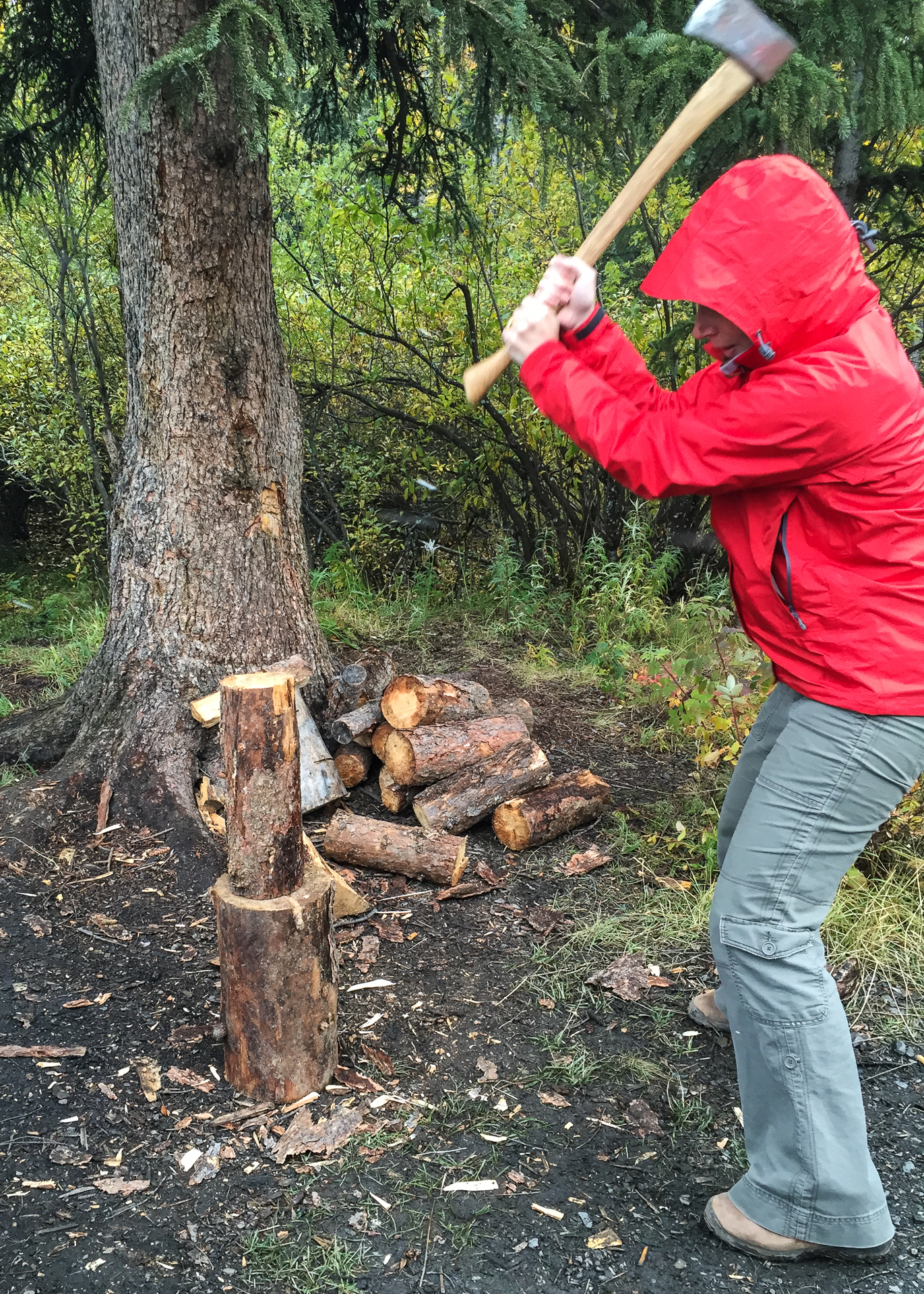 Justine getting our firewood prepared for the evening's fire.