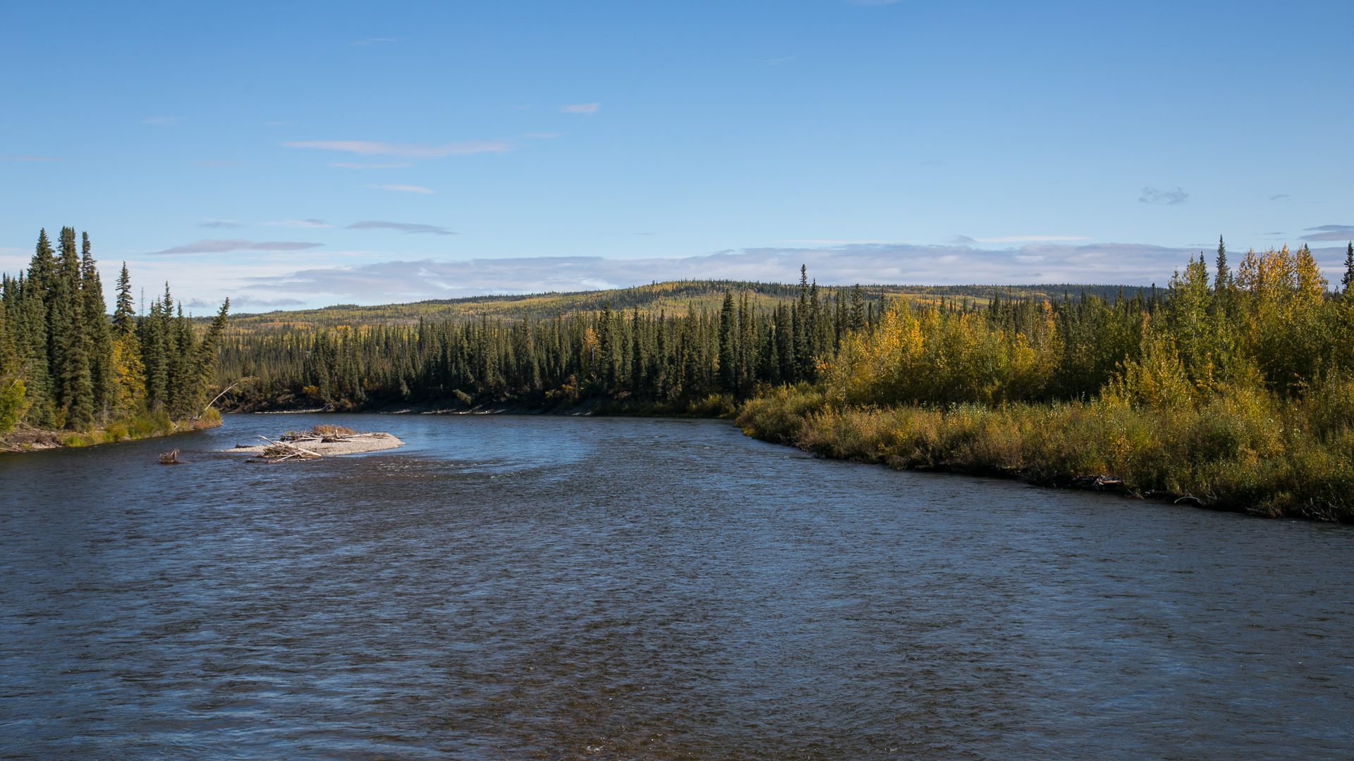 Crossing the river at the start of the Dempster Highway. We were back onto pavement at this point, and on our way south.
