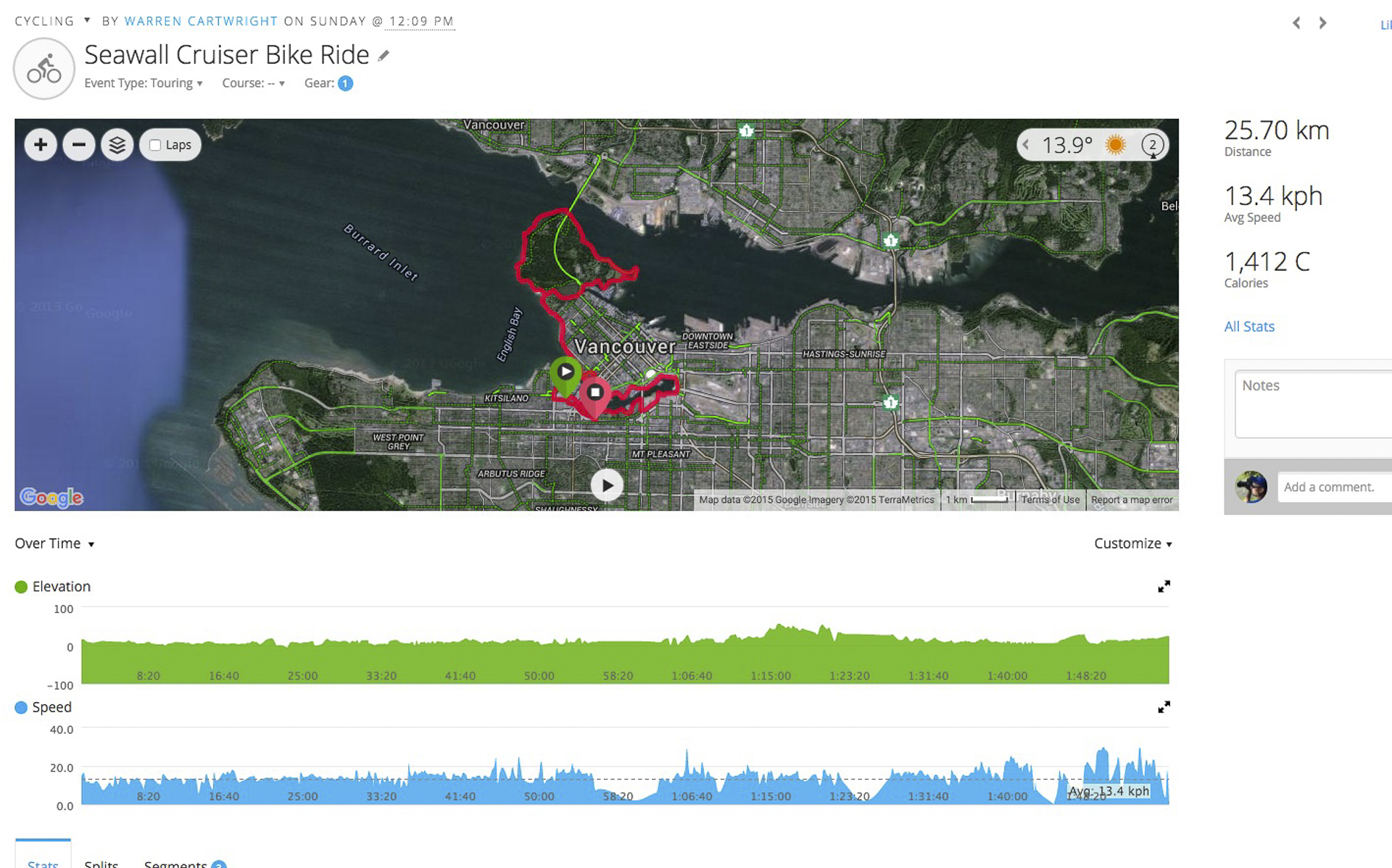 A map of our bike ride along the sea wall. Click for a larger version.