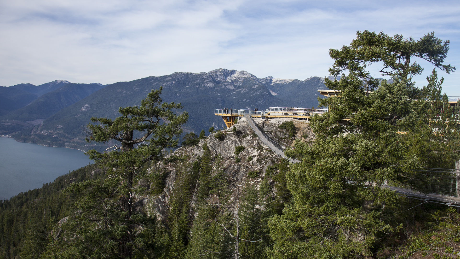 The chalet and the suspension bridge.