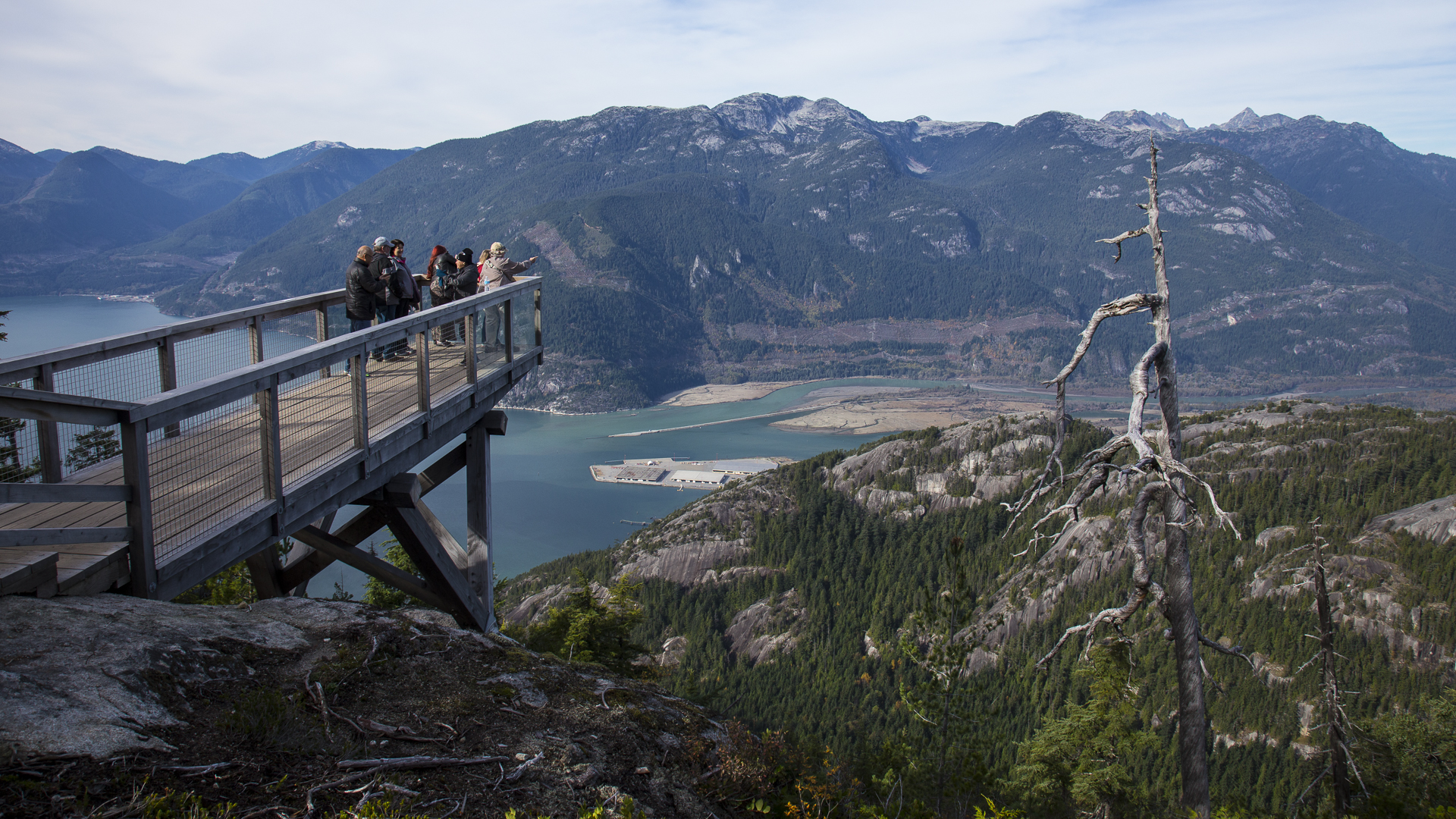 One of the lookouts, with a view down to the Chief and Squamish.