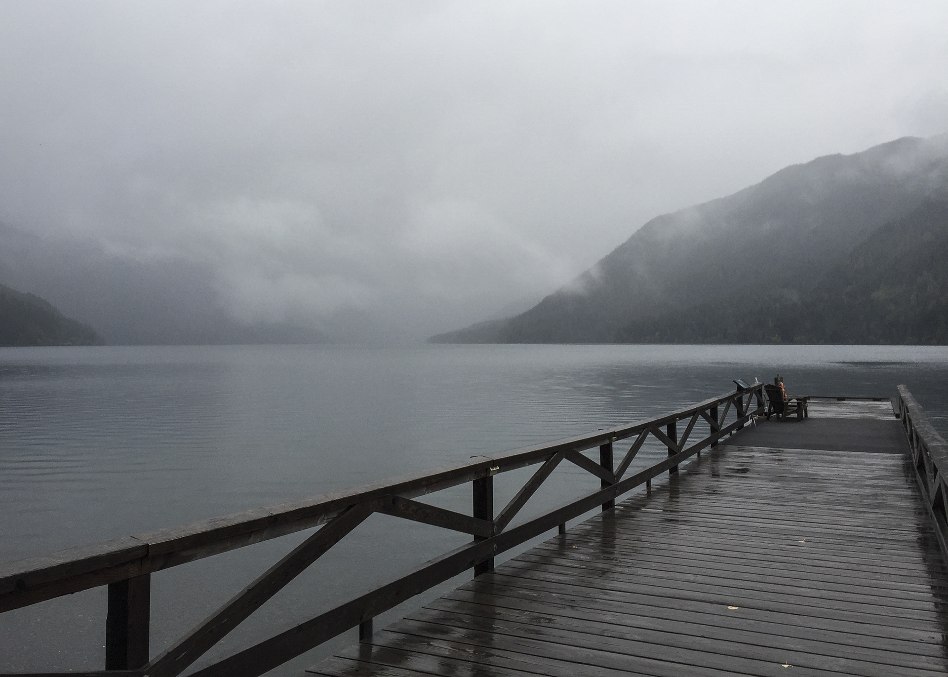 View out over the lake from the dock at Lake Crescent Lodge, on our very grey and rainy Saturday morning.