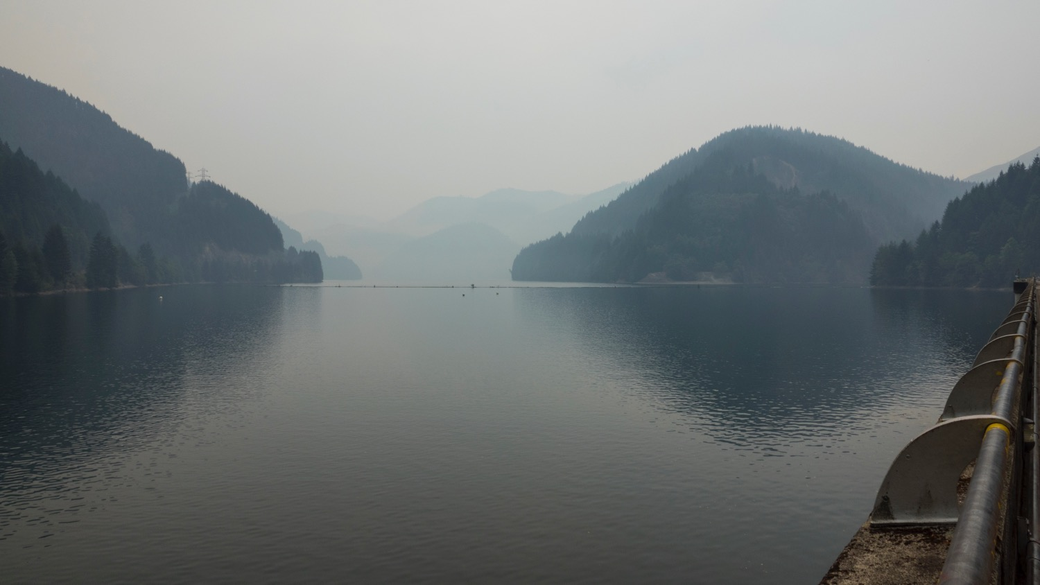 Looking out from the dam, you could barely see the surrounding hills.