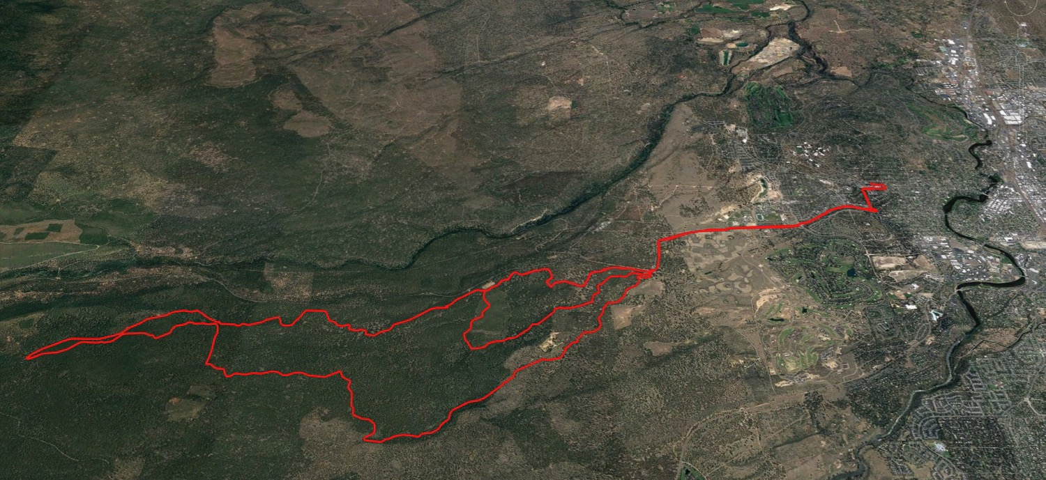 Google Earth view of our big ride at Phil's Trails. And the crazy thing is that barely scratches the surface of the trail system.