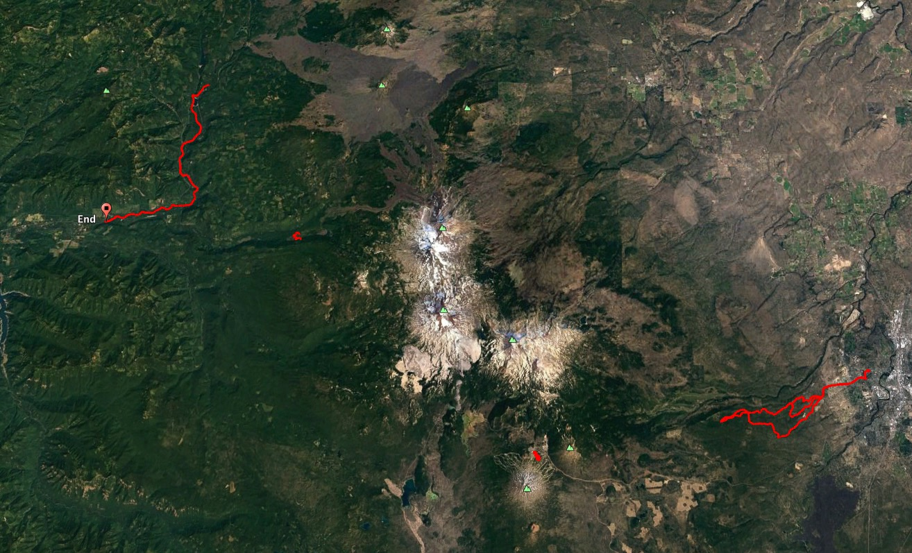 A Google Earth view of our three mountain bike rides and one hike while we were in Bend.