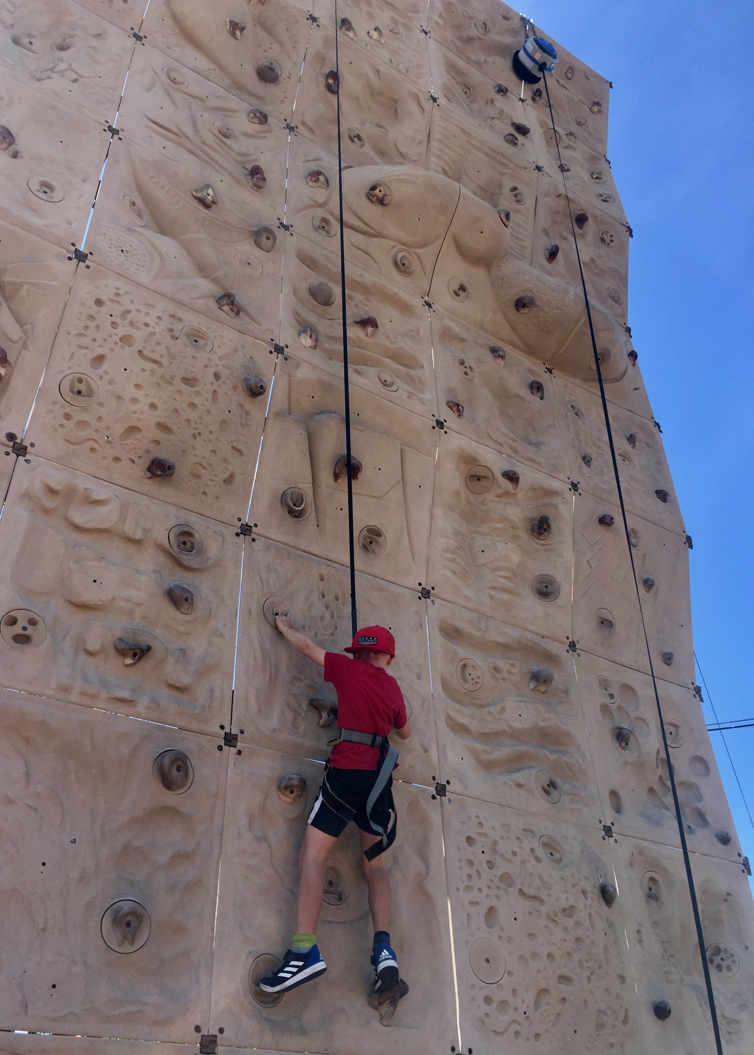 Ethan did amazing on the rock wall