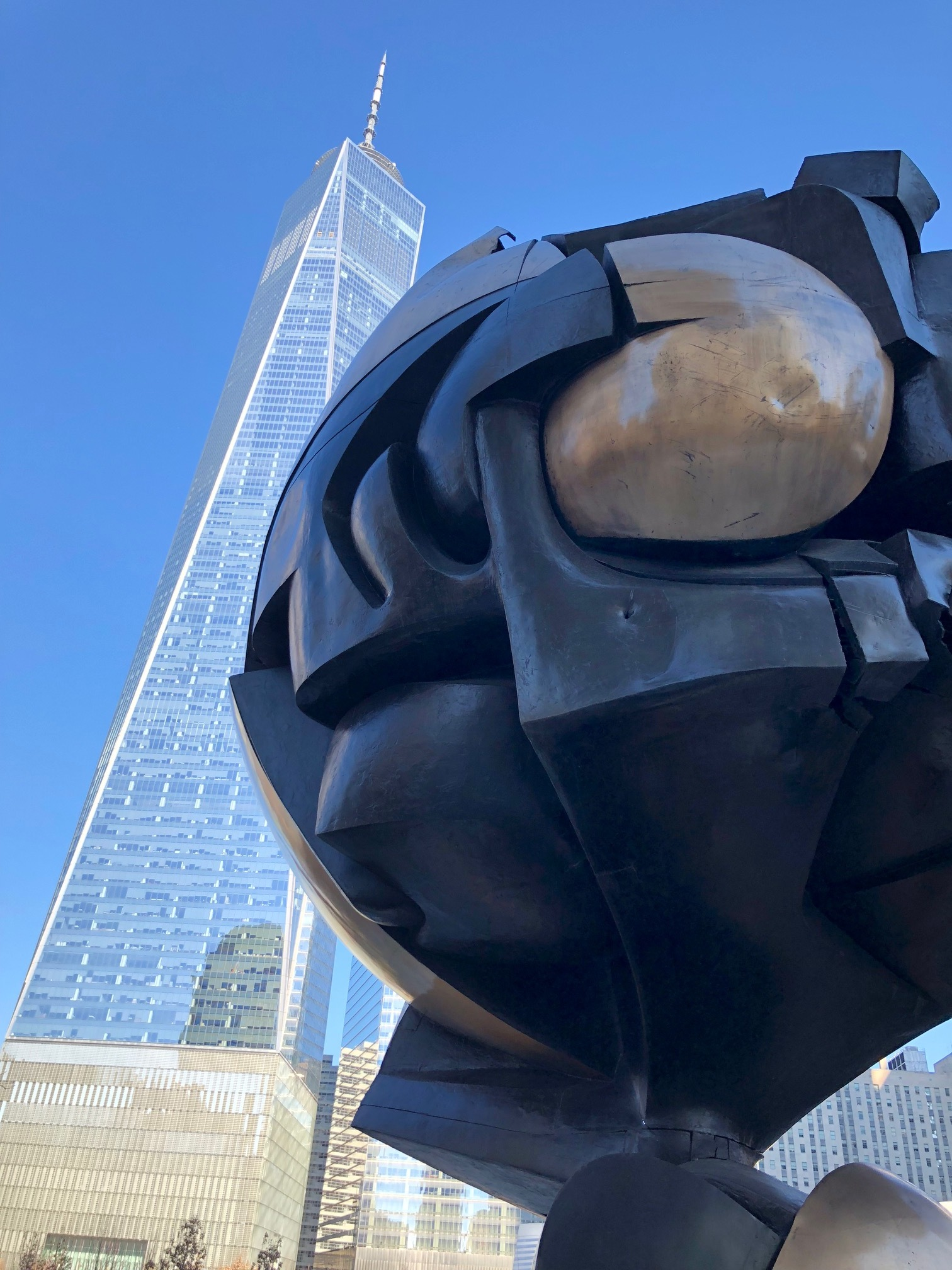 This sculpture was in the plaza at the original World Trade Center. It was pulled from the rubble after 9-11, and added to this park overlooking the site.