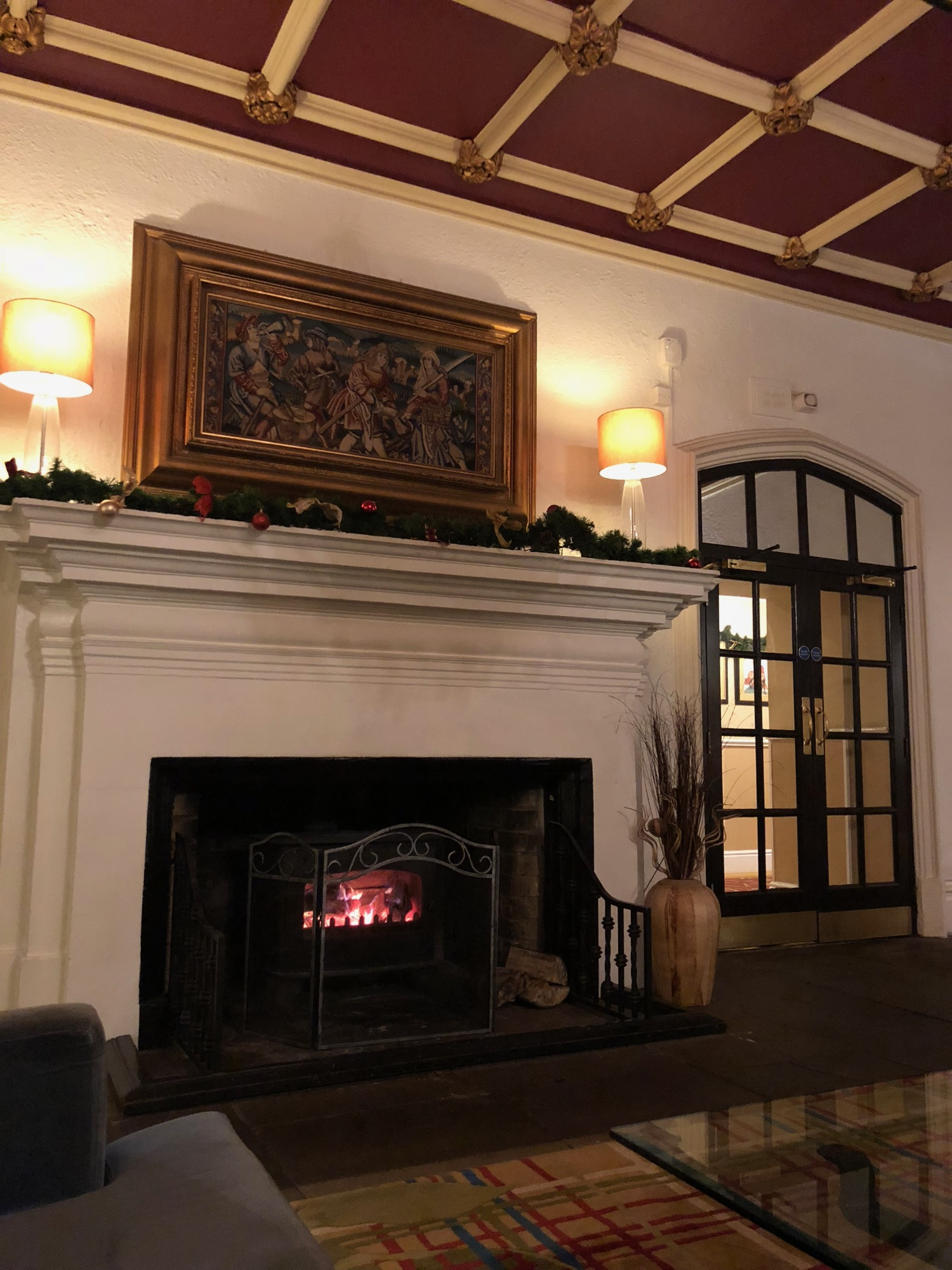 The lovely fireplace in the main lounge