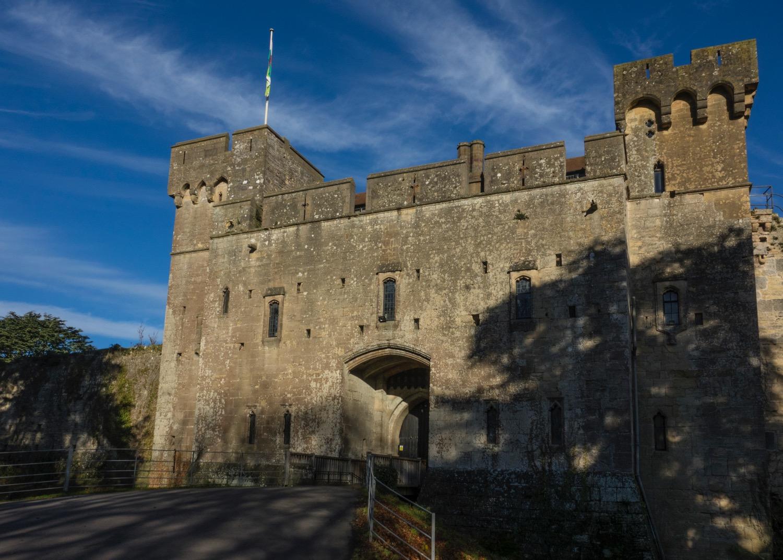 The main entrance to Caldicot Castle.