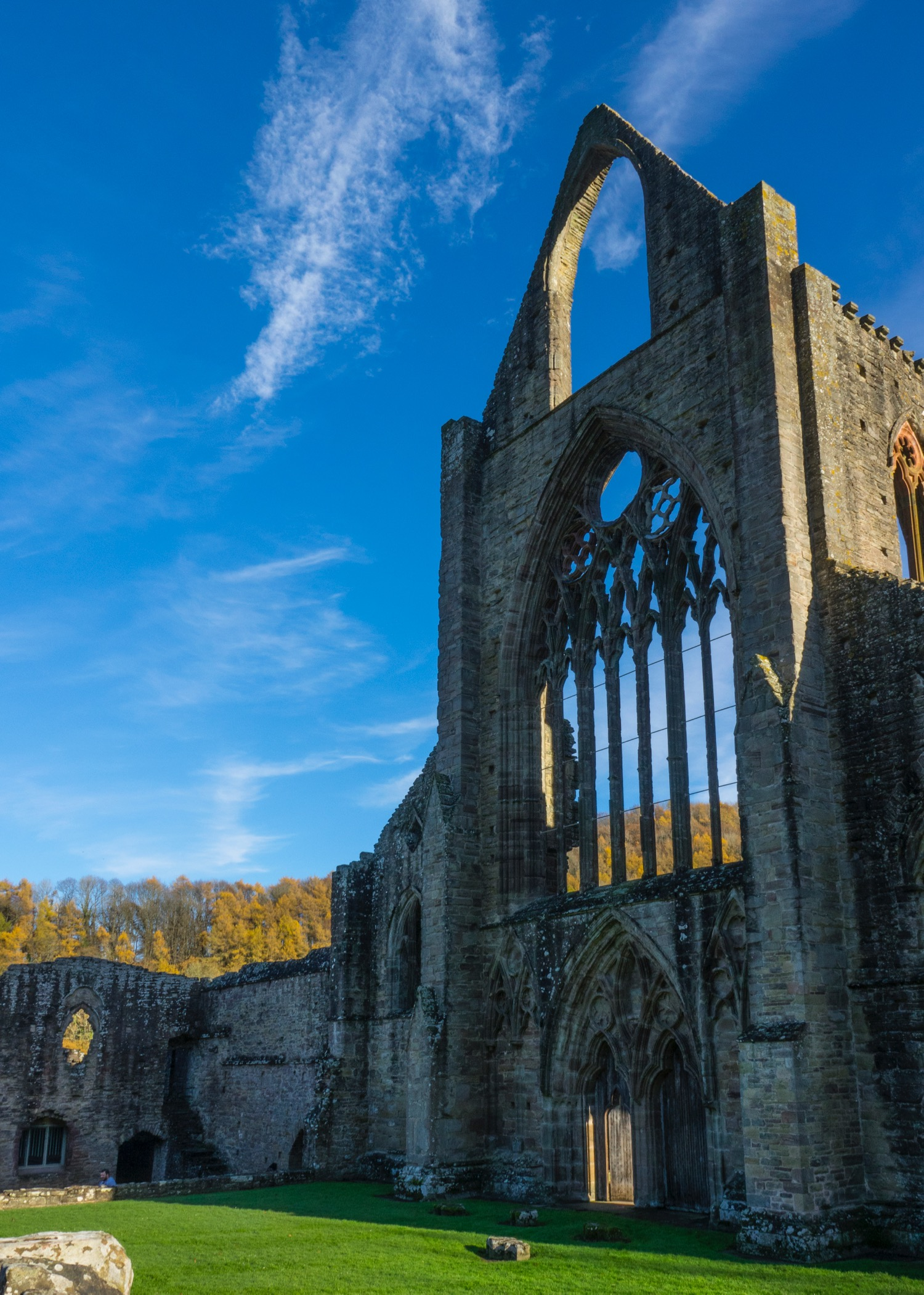 One of the facades of the ruins of Tintern Abbey