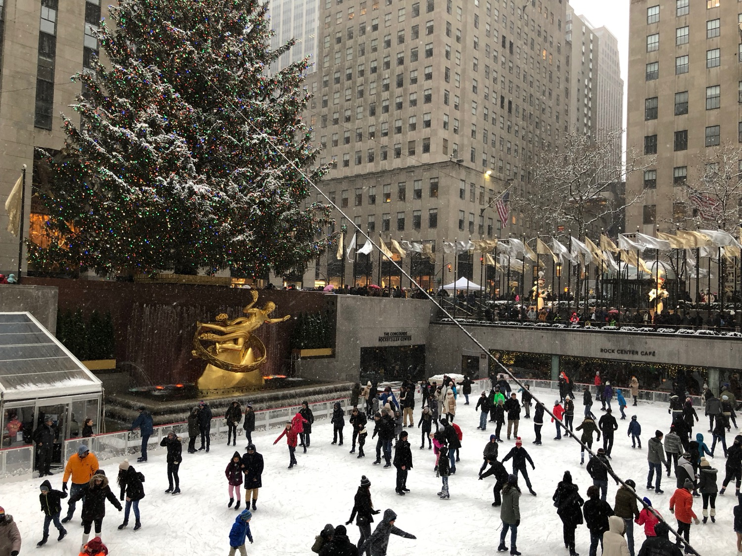 Rockefeller Center, with the huge tree and the skating rink.