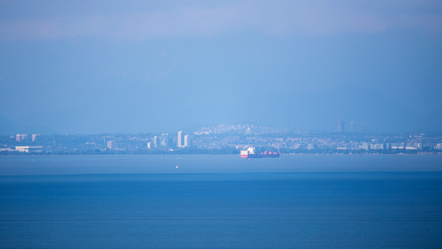 Full zoom on my big lens - you can see Vancouver from our new place.
