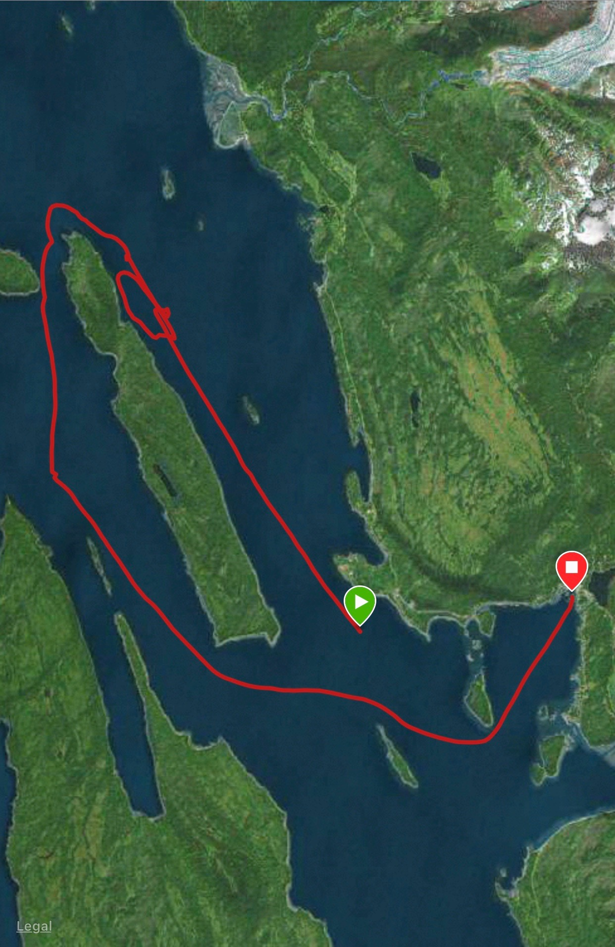 The GPS trail of where we went on our whale watching wxcursion.