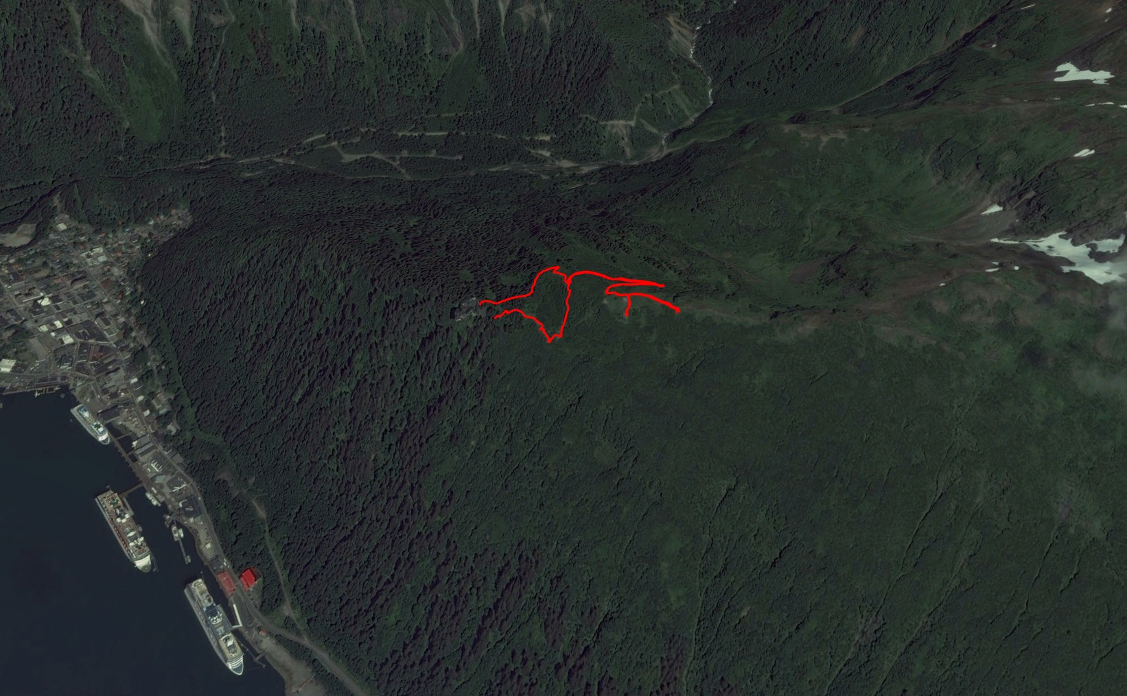 The GPS trail of our short hike. What I love about the Google Maps image is the cruise ships docked below the nountain, and how big they are!
