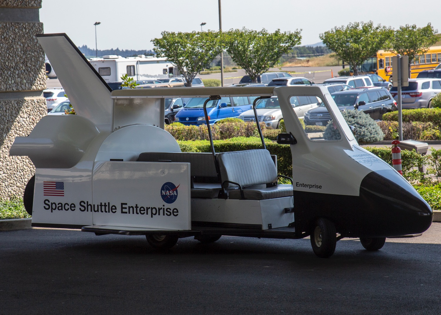Even the shuttle was in theme...