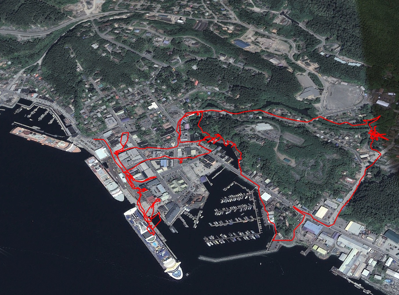 Here's a GPS trail of our walk around Ketchikan