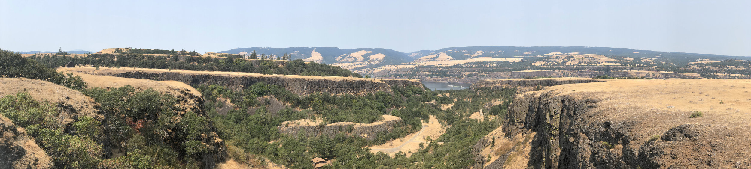 At the end of the ride, we stopped at the bridge and took a shot of the view across the canyon, and out to the river.